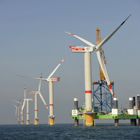 Aufbau Offshore-Windpark Thornton Bank, Belgien 1.Phase, 6 x Repower 5M f¸r Repower Systems AG 19.9.2008 (c) Foto: Jan Oelker/Repower